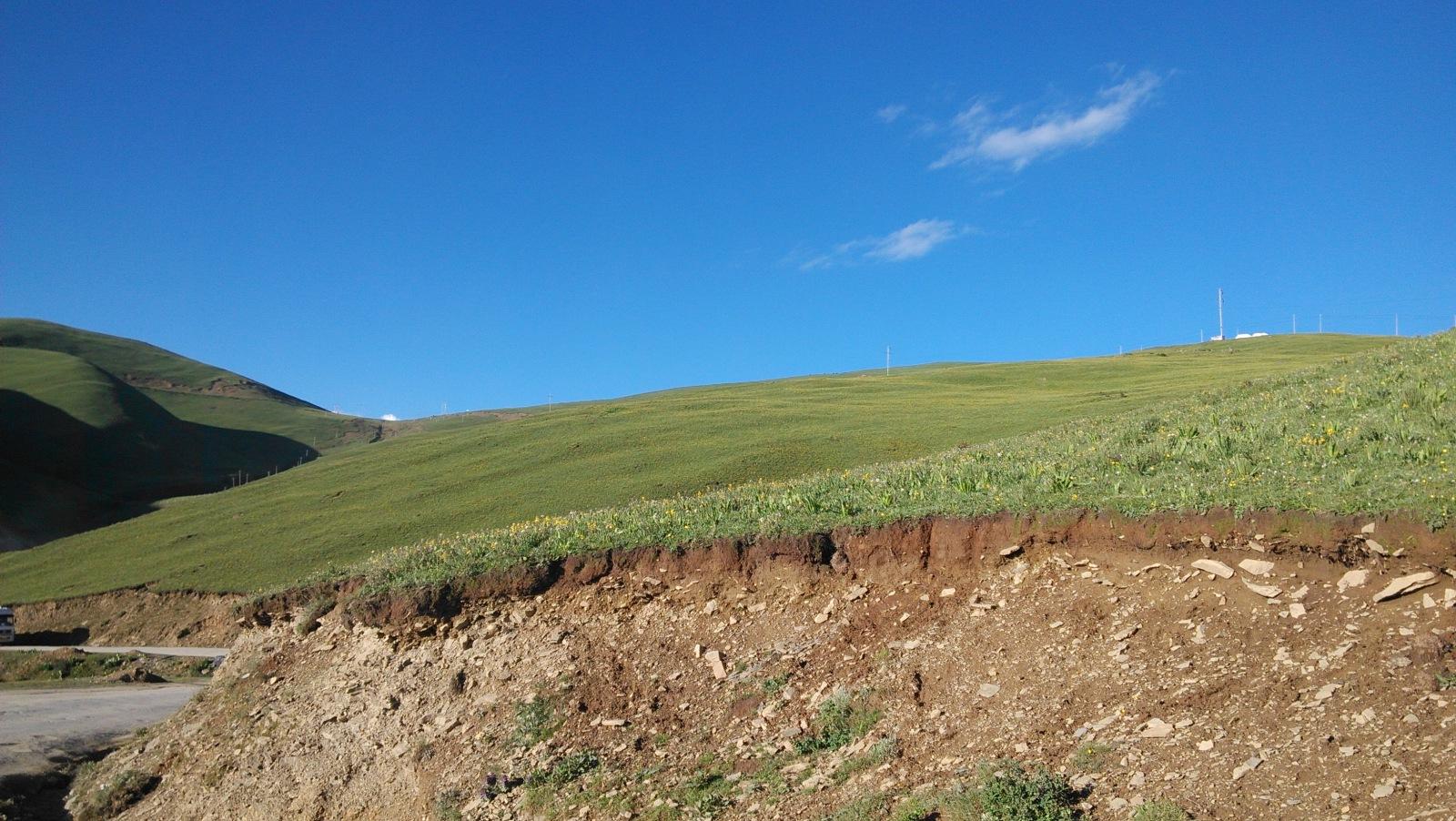 山上都是这样的土地,很美,但这儿不长太多庄稼
