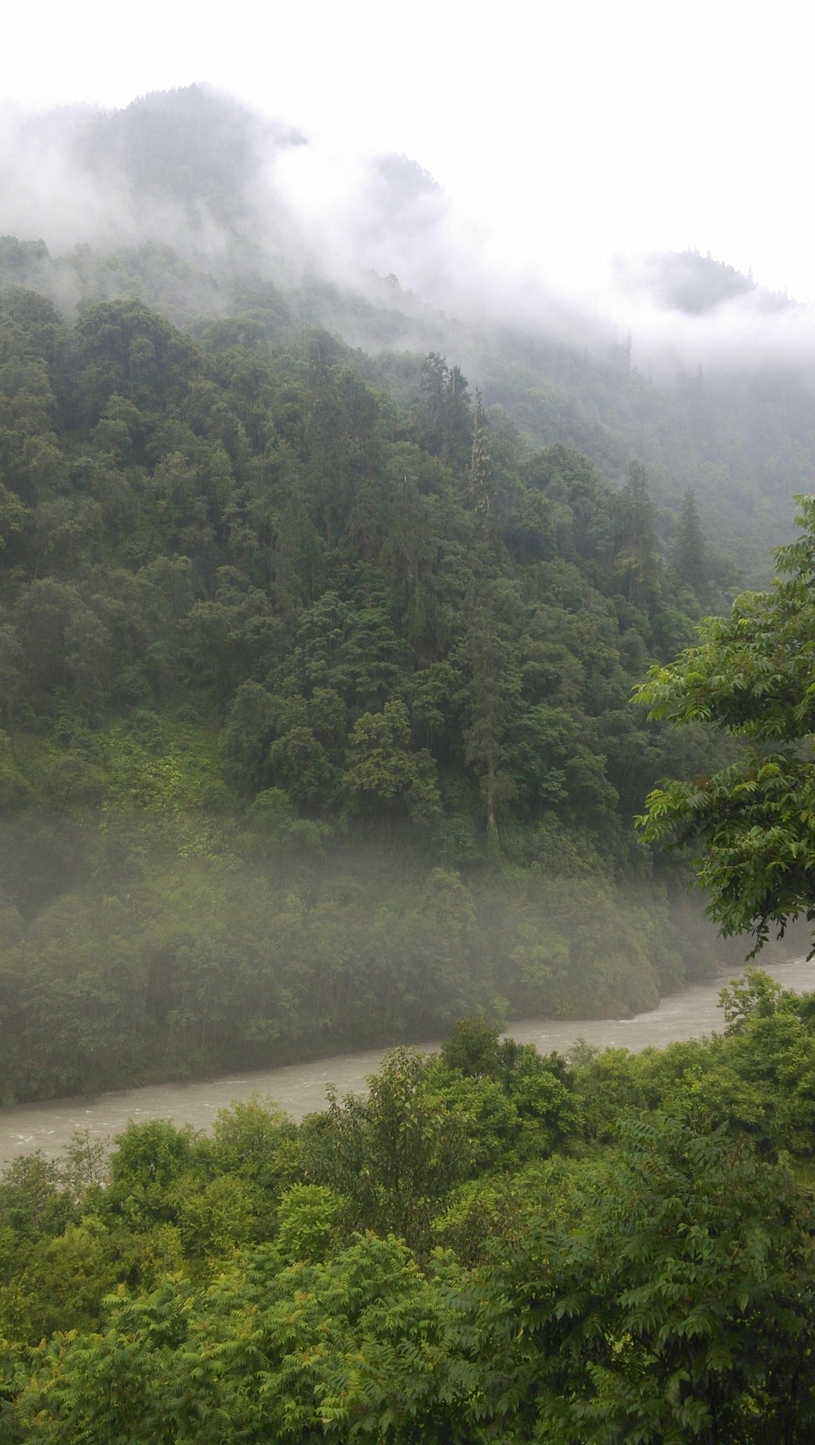 看着窗外云雾飘渺的山,只想到了这么一句:日照香炉生紫烟